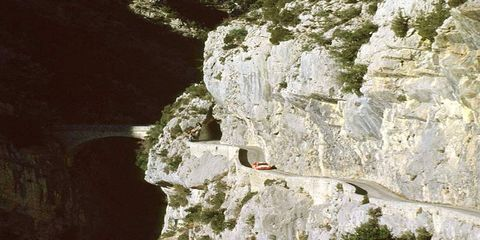 Tommi Makinen makes his way in his Mitsubishi along a road high in the Monte Carlo Mountains, en rounte to winning the Monte Carlo World Championship Rally in 2000.
