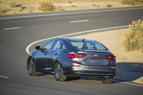 The 2019 Honda Insight gets a hybrid powertrain consisting of a 1.5-liter Atkinson cycle inline-four and an electric motor; total output is a stated 151 hp and 197 lb-ft of torque and economy is a stated 55 mph in city driving. Under its skin, the Insight shares its bones with the 10th-generation Honda Civic. Further specifications, including complete fuel economy figures, have not been released.