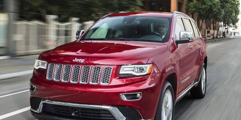 The restyled Jeep Grand Cherokee has a shorter grille with slimmer headlights.