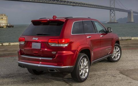 The rear of the 2014 Jeep Grand Cherokee gets larger taillights and a more aerodynamic spoiler.