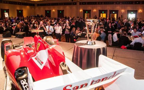 A Formula One show car and one of the trophies were on display at a kickoff luncheon in Austin, Texas, on Thursday.