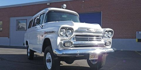 Gleaming white beast: this 1959 Chevrolet Suburban with NAPCO four-wheel drive is currently featured at bringatrailer.com