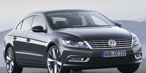 The 2013 Volkswagen CC gets a restyled front fascia and new headlamps.
