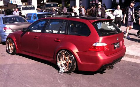 Super deep dish wheels on this Bimmer wagon, another top paint job