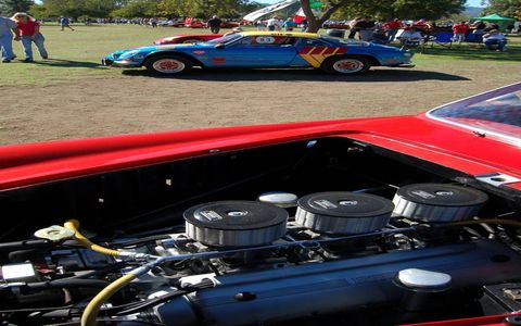 That's a Ferrari engine in the foreground and a Renault Alpine in back, great examples of The Best of France and Italy car show held Sunday in Van Nuys, Calif.