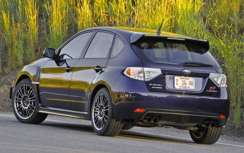 In its hatchback incarnation, the 2012 Subaru Impreza WRX STI offers a fair amount of room for cargo--although it's a bit quicker than the average grocery-getter.