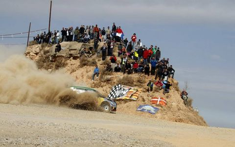 Dirt Devil: Juho Hanninen kicks up the dust during Rally Spain.