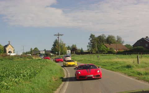 The Ferrari tour takes drivers by Belgian landmarks and to historic racetracks.