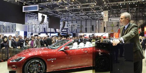 Maserati CEO Harald Wester introduces the Gran Cabrio Sport at the Geneva motor show on Tuesday.