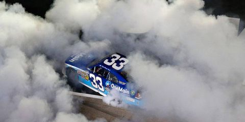 Kevin Harvick does a major-league burnout following his Nationwide Series win at Texas.