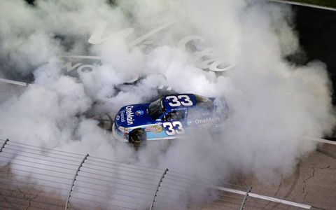 Kevin Harvick showing the Nationwide Series regulars how it's done.