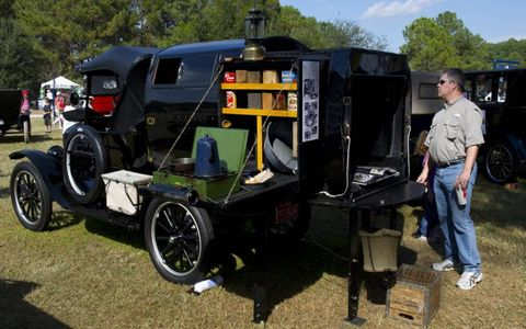 "1924 Ford Model T Runabout fitted with a reproduction of a 1916 ""Automobile Telescoping Apartment."" In other words, an early RV."