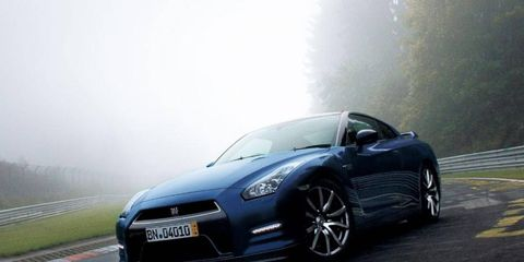 2014 Nissan GT-R in blue, with fog.