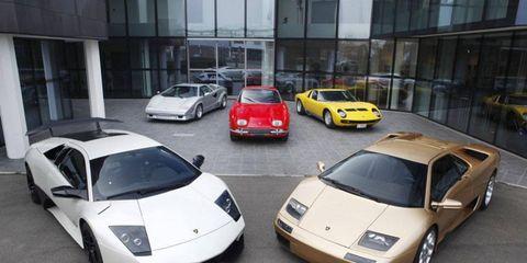 Four classic V12 Lamborghinis escort the LP 670-4 Superveloce out of the Lamborghini Musuem