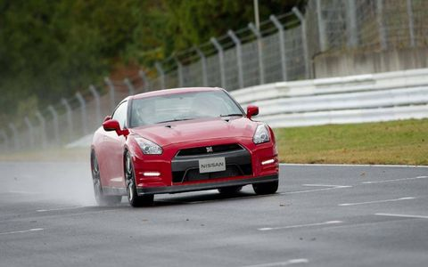 2014 Nissan GT-R on the track.