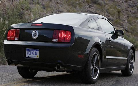 A pair of 3.5-inch tail pipes poke out from the back of the Mustang Bullitt.