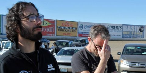 The lunacy, the mayhem, the lack of sleep. It puts a man in strange states. Alex and Davey at the Aztec Speedway.