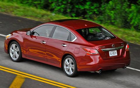 The 2013 Nissan Altima 2.5 SL Sedan is powered by a 2.5-liter inline-four engine. Power is adequate, and the continuously variable transmission is bearable.