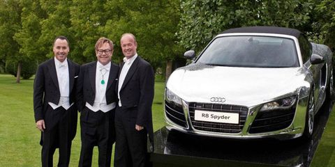 Audi UK donated two chrome R8 spyders to the Elton John AIDS Foundation for a charity auction.