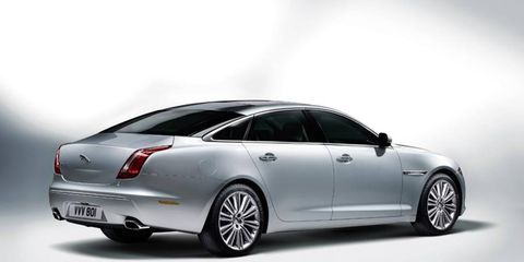 The flowing rear lines of the 2012 Jaguar XJ sedan mimic popular four-door coupe styling.