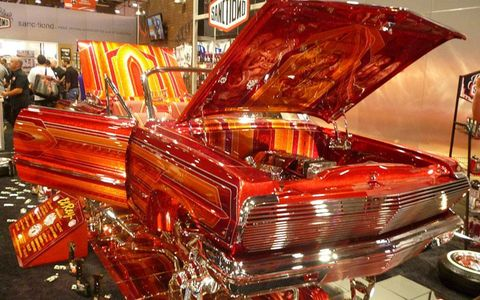 The red, yellow and chrome designs of this display symbolized SEMA.