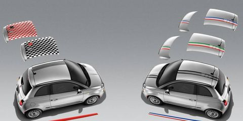 Mopar offers graphic packages to customize the Fiat 500.