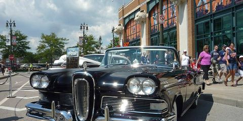 A 1958 Edsel was on display at the Detroit Tigers' first classic-car show.
