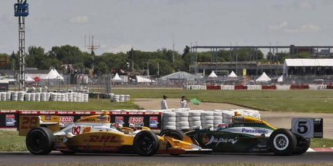 Ryan Hunter-Reay crashed with Takuma Sato at the IndyCar race in Edmonton in July.