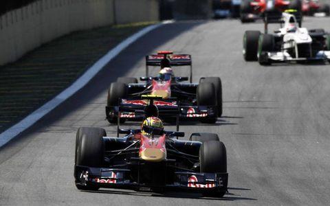Jaime Alguersuari leads Sebastien Buemi.