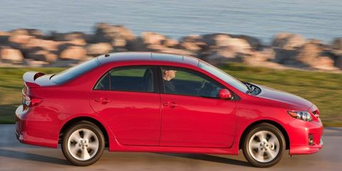 The four-cylinder engine in the 2011 Toyota Corolla is rated at 132 hp.