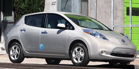 The Nissan Leaf electric car is in Hertz's rental fleet in San Francisco.