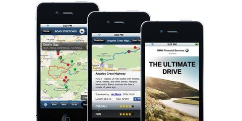 BMW's new app will show favorite driving roads near your location.