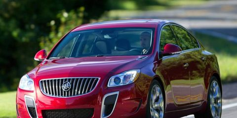 The turbocharged four-cylinder engine in the 2012 Buick Regal GS is rated at 270 hp.
