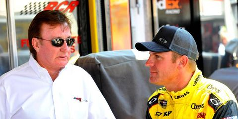Clint Bowyer (right) may leave Richard Childress' (left) team after being linked with moves to Richard Petty Motorsports and Joe Gibbs Racing.