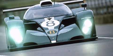 Bentley plans return to 24 Hours of Le Mans within five years. A Bentley racer is shown conducting testing in 2001.