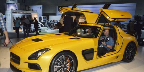 The 2014 Mercedes-Benz SLS AMG Black Series on the floor of the Los Angeles Auto Show.