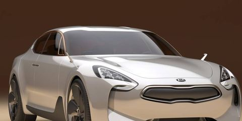 The rear-drive Kia GT concept sedan is powered by a 390-hp turbocharged V6 engine.