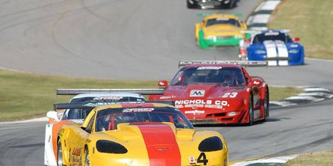 Two-time Trans-Am champion Tony Ave leads a group of cars in qualifying at Road Atlanta on Thursday.