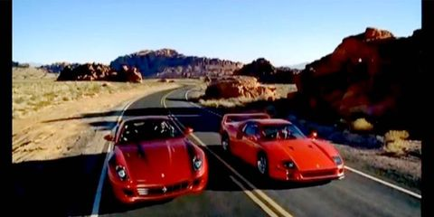 In the <i>Ferrari: Duel for the Crown</i> video, an F40 and a Ferrari 599 GTB Fiorano race.