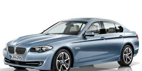 The powertrain of the hybrid version of the BMW 5-series sedan is rated at 335 hp.