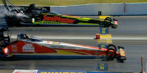 Doug Kalitta nips J.R. Todd at the line in a battle of Kalitta Motorsports teammates.