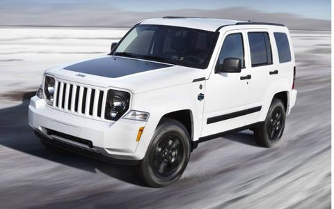 The 2012 Jeep Liberty Arctic and Wrangler Arctic have the same color choices, this is Bright White