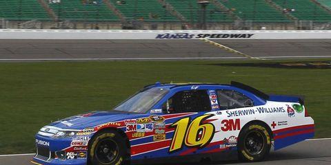 Greg Biffle captured the pole for Sunday's NASCAR race in Kansas.