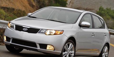 The four-cylinder engine in the Kia Forte EX 5-Door is rated at 156 hp.