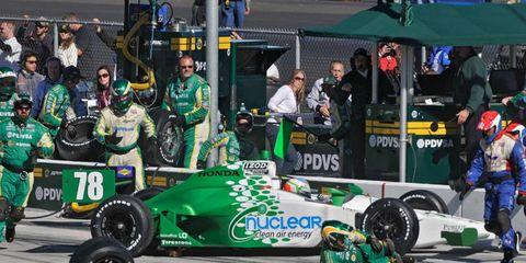 A KV Racing crewman was injured when he was hit by Simona De Silvestro's car at Kentucky.