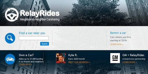RelayRides and GM will use OnStar to locate vehicles available for car sharing.