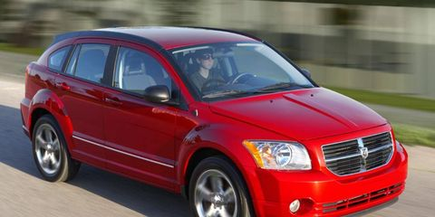 The four-cylinder engine in the Dodge Caliber is rated at 165 hp.