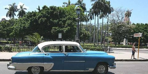 U.S. cars from the 1950s are a common sight on the roads in Cuba.