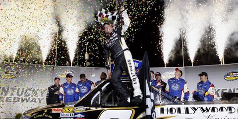 Ron Hornaday Jr. celebrates his win at Kentucky Speedway on Saturday.