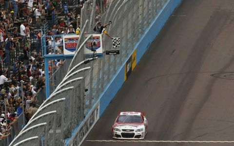 Kevin Harvick passes over the finish line.